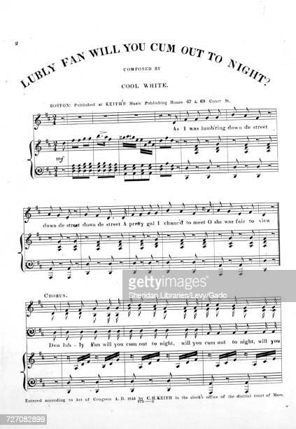 Sheet music cover image of the song 'Lubly Fan Will You Cum Out To Night ' with original authorship notes reading 'Composed by Cool White' United...