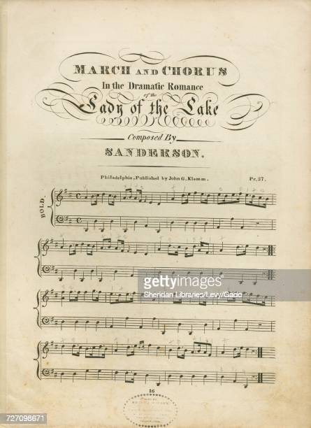 Sheet music cover image of the song 'march and Chorus' with original authorship notes reading 'Composed by Mr Sanderson Written by Walter Scott'...