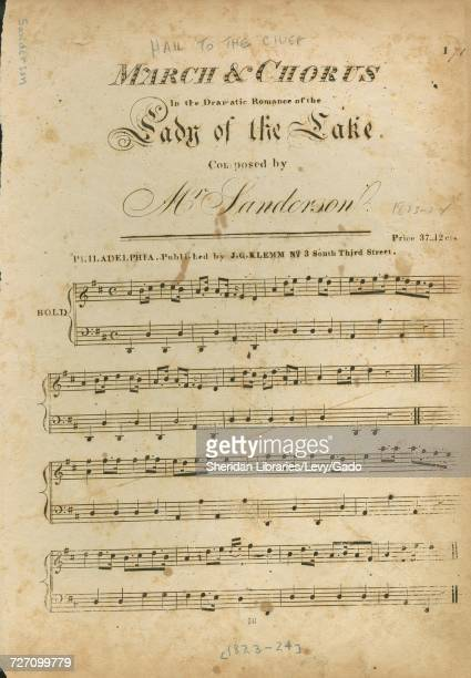 Sheet music cover image of the song 'march and Chorus ' with original authorship notes reading 'Composed by Mr Sanderson' United States 1823 The...