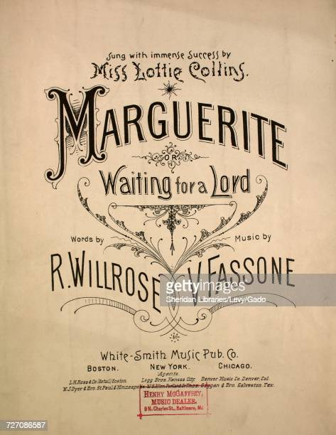 Sheet music cover image of the song 'marguerite Waiting for a Lord' with original authorship notes reading 'Words by R Willrose Music by V Fassone'...