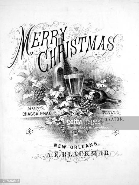 Sheet music cover image of the song 'merry Christmas Waltz' with original authorship notes reading 'By EO Eaton' 1874 The publisher is listed as 'AE...