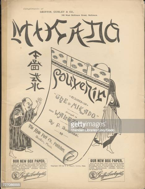 Sheet music cover image of the song 'mikado Souvenir' with original authorship notes reading 'melodies of 'The Mikado' Arranged as Waltzes by P...