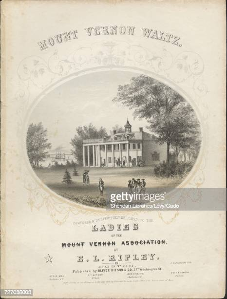 Sheet music cover image of the song 'mount Vernon Waltz' with original authorship notes reading 'By EL Ripley Charleston SC' United States 1857 The...