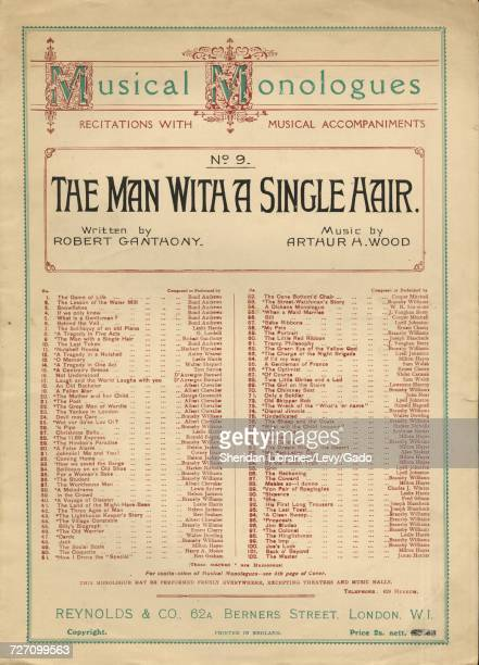 Sheet music cover image of the song 'musical Monologues Recitations With Accompaniments No9 The Man With a Single Hair' with original authorship...