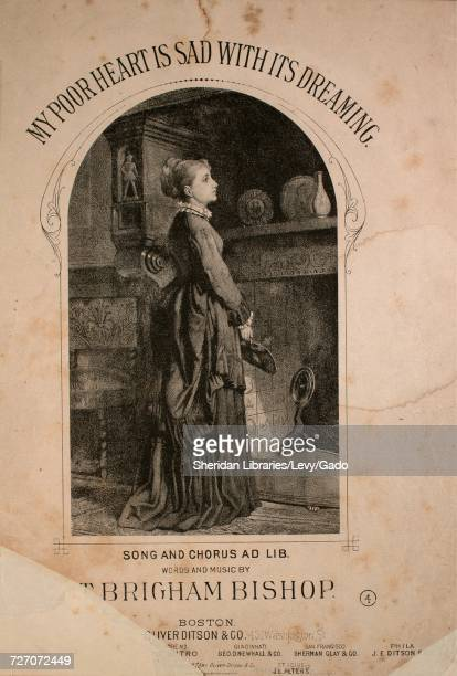 Sheet music cover image of the song 'my Poor Heart is Sad With Its Dreaming Song and Chorus Ad Lib' with original authorship notes reading 'Words and...