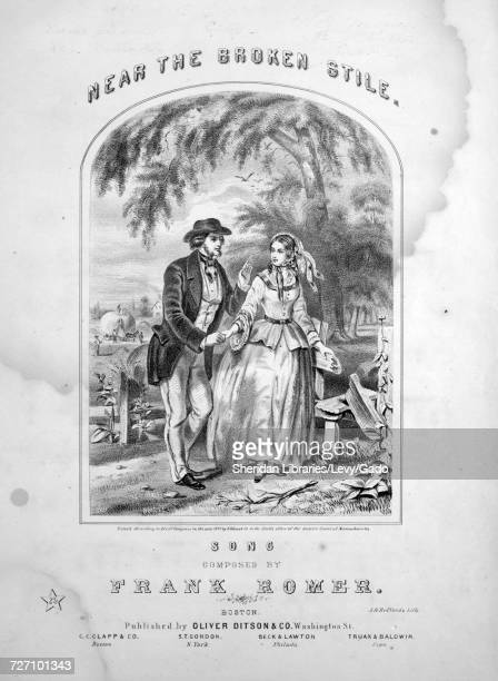 Sheet music cover image of the song 'Near the Broken Stile Song' with original authorship notes reading 'Composed By Frank Romer' United States 1857...