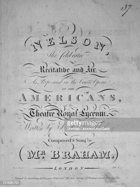 Sheet music cover image of the song 'Nelson The Celebrated Recitative and Air' with original authorship notes reading 'Written by TJ Arnold Esqr...