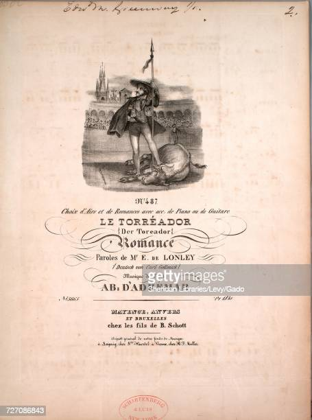 Sheet music cover image of the song 'No 487 Choix d'Airs et de Romances avec acc de piano ou de Guitar Le Torreadore Romance ' with original...