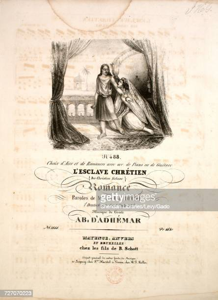 Sheet music cover image of the song 'No 488 Choix d'Airs et de Romances avec acc de Piano ou de Guitare L'Esclave Chretien Romance' with original...