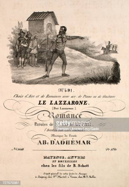 Sheet music cover image of the song 'No 491 Choix d'Airs et de Romances avec acc de Piano ou de Guitare Le Lazzarone Der Lazzarone Romance' with...
