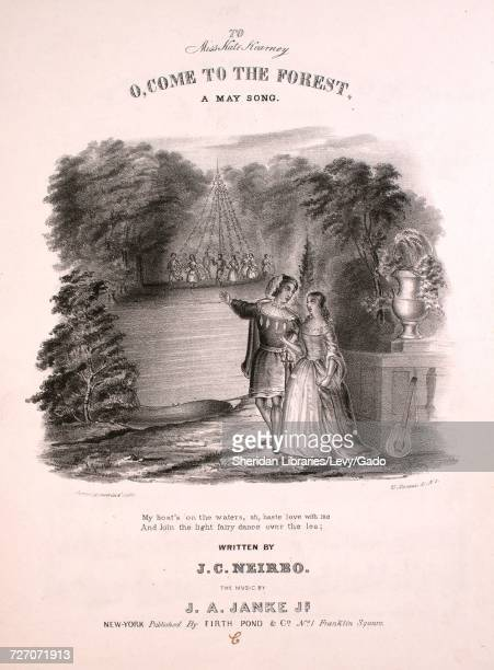 Sheet music cover image of the song 'O Come to the Forest A May Song' with original authorship notes reading 'Written by JC Neirbo The Music by JA...
