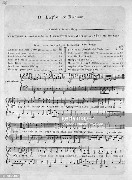 Sheet music cover image of the song 'O Logie O'Buchan A Favorite Scotch Song' with original authorship notes reading 'na' United States 1900 The...