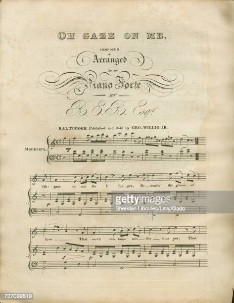 Sheet music cover image of the song 'Oh Gaze on me' with original authorship notes reading 'Composed and Arranged for the Piano Forte By RER Esqr'...