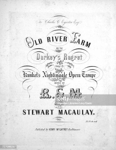 Sheet music cover image of the song 'Old River Farm or The Darkey's Regret ' with original authorship notes reading 'Words by RSM Music by Stewart...