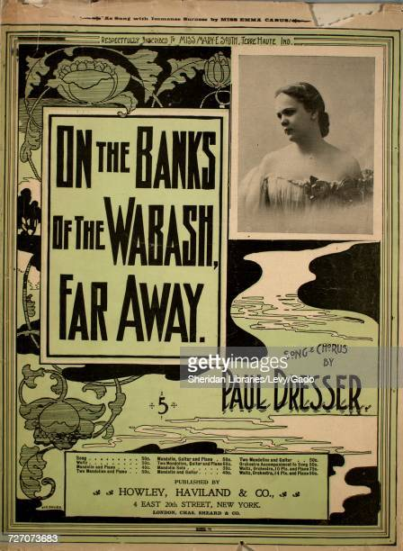 Sheet music cover image of the song 'On the Banks of the Wabash Far Away Song and Chorus' with original authorship notes reading 'Words and Music by...