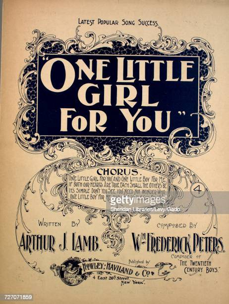 Sheet music cover image of the song 'One Little Girl For You Chorus Latest Popular Song Success' with original authorship notes reading 'Written by...