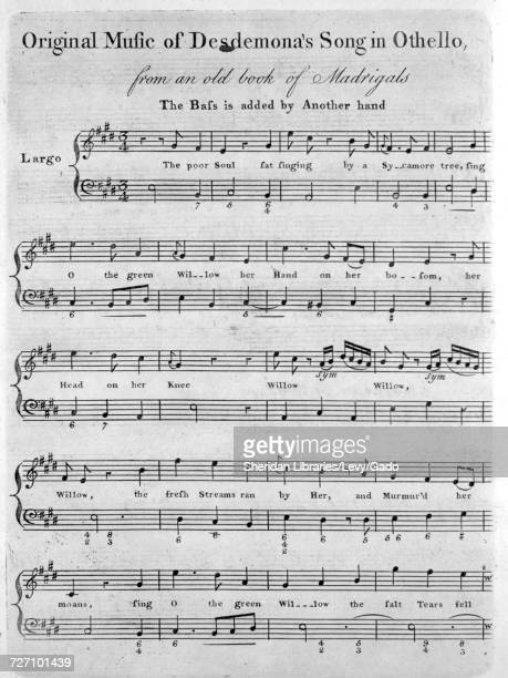 Sheet music cover image of the song 'Original Music of Desdemona's Song in Othello from an Old Book of Madrigals The Bass is added by Another hand'...