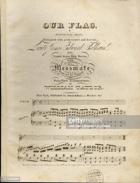 Sheet music cover image of the song 'Our Flag A National Song' with original authorship notes reading 'Words and Air Original The Piano Forte...