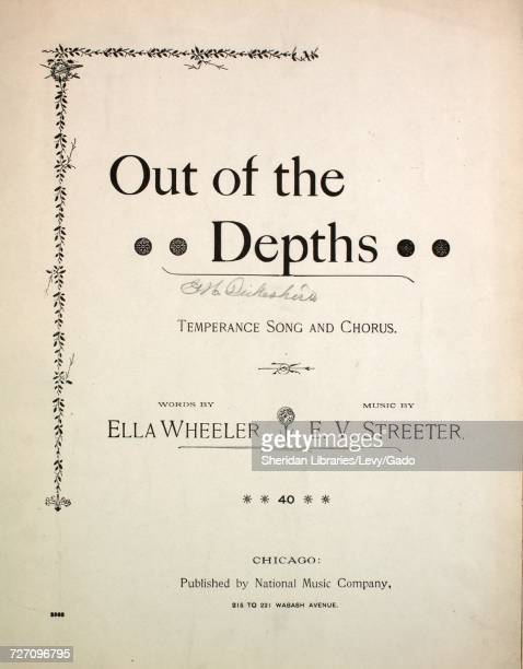 Sheet music cover image of the song 'Out of the Depth Temperance Song and Chorus' with original authorship notes reading 'Words by Ella Wheeler Music...