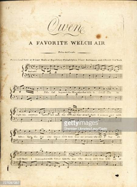 Sheet music cover image of the song 'Owen A Favorite Welch Air' with original authorship notes reading 'na' United States 1900 The publisher is...