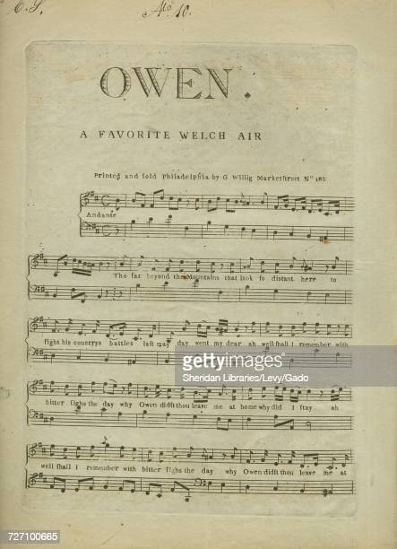 Sheet music cover image of the song 'Owen A Favorite Welch Air ' with original authorship notes reading 'na' United States 1900 The publisher is...