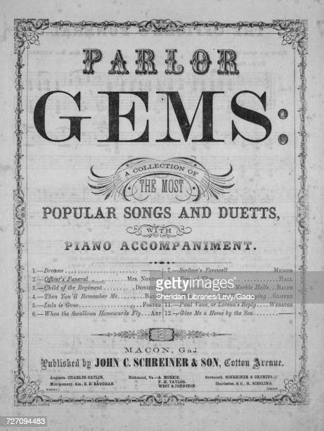 Sheet music cover image of the song 'Parlor Gems A Collection of the Most Popular Songs and Duetts with Piano Accompaniment The Officer's Funeral'...