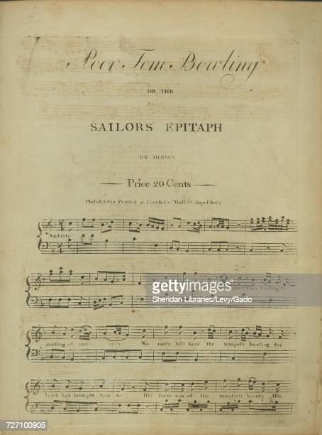Sheet music cover image of the song 'Poor Tom Bowling or The Sailors Epitaph' with original authorship notes reading 'By Dibdin' United States 1900...