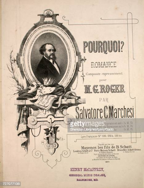 Sheet music cover image of the song 'Pourquoi Romance No 2 Pour Contralto our Baryton ' with original authorship notes reading 'Poesie de Victor Hugo...