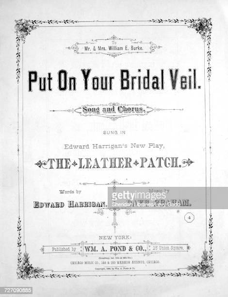 Sheet music cover image of the song 'Put on Your Bridal Veil Song and Chorus' with original authorship notes reading 'Words by Edward Harrigan Music...