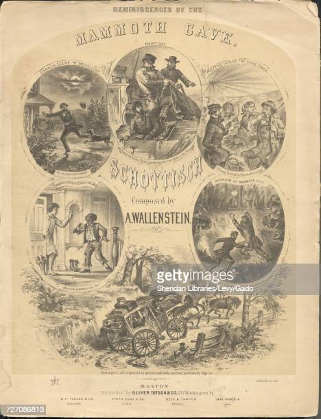 Sheet music cover image of the song 'Reminiscences of the Mammoth Cave Schottisch' with original authorship notes reading 'Composed by A Wallenstein'...