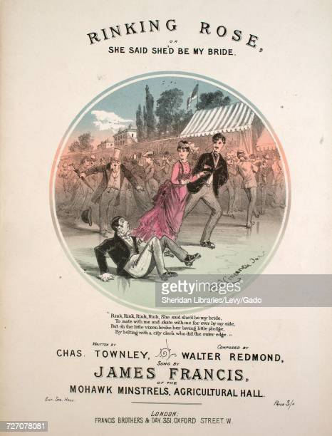 Sheet music cover image of the song 'Rinking Rose or She Said She'd Be My Bride' with original authorship notes reading 'Written by Chas Townley...