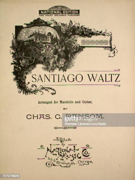 Sheet music cover image of the song 'santiago Waltz' with original authorship notes reading 'Arranged for Mandolin and Guitar by Chas G Ransom'...
