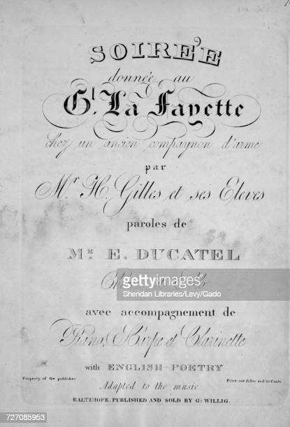 Sheet music cover image of the song 'soiree donnee au Gl La Fayette Chez un ancien compayonon d'arme' with original authorship notes reading 'Par Mr...