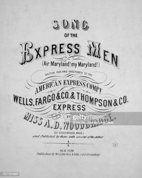 Sheet music cover image of the song 'song of the Express Men ' with original authorship notes reading 'Written by Miss AD Woodbridge ' United States...