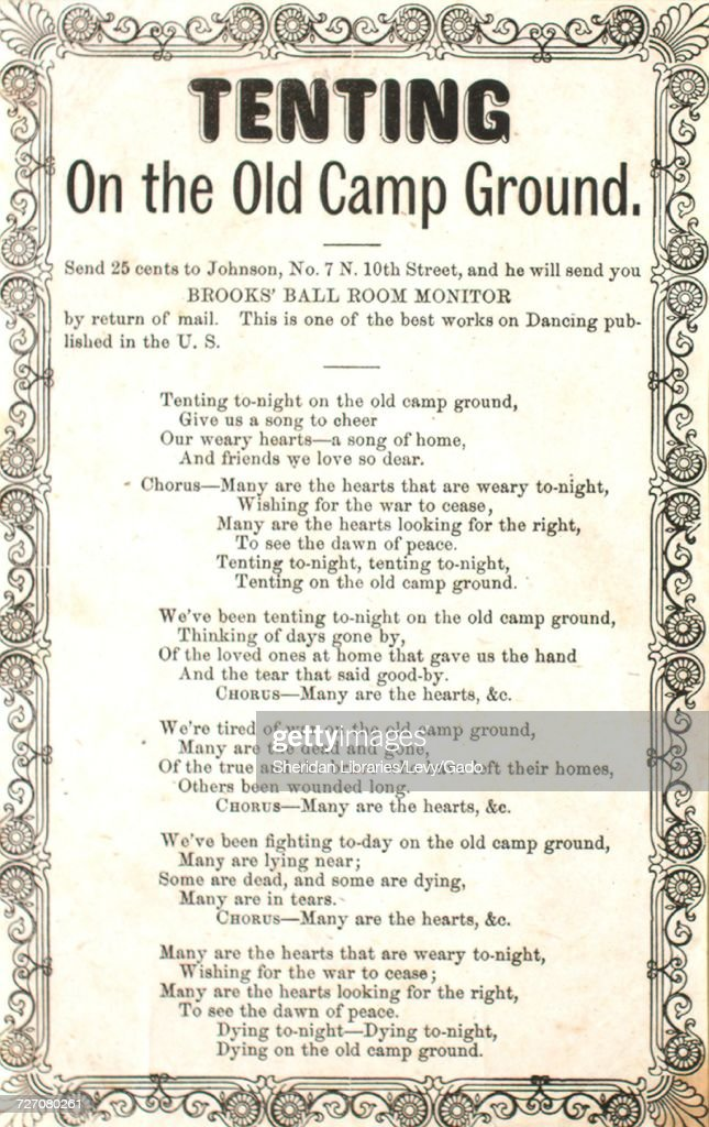 Sheet music cover image of the song u0027song Sheet Tenting on the Old C& Ground  sc 1 st  Getty Images & Tenting Tonight Stock Photos and Pictures | Getty Images