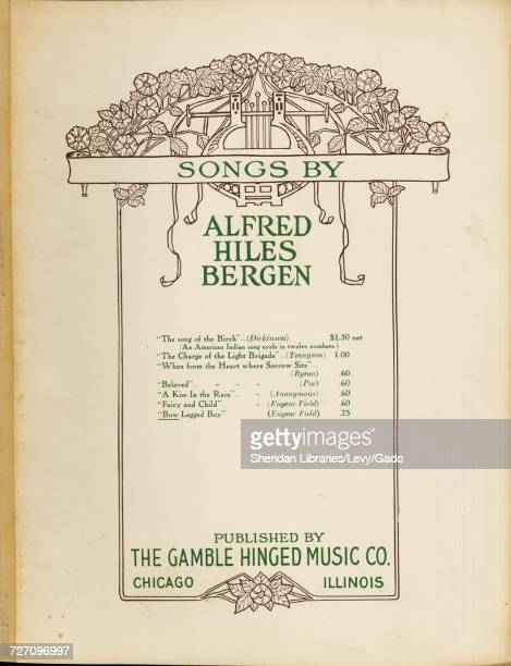 Sheet music cover image of the song 'songs by Alfred Hiles Bergen Bow Legged Boy' with original authorship notes reading 'Words by Eugene Field Music...