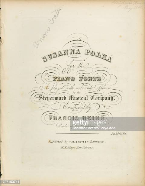 Sheet music cover image of the song 'susanna Polka for the Piano Forte' with original authorship notes reading 'Composed by Francis Rziha Leader of...
