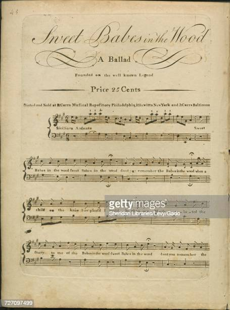 Sheet music cover image of the song 'sweet Babes in the Wood A Ballad Founded on the well known Legend' with original authorship notes reading 'na'...