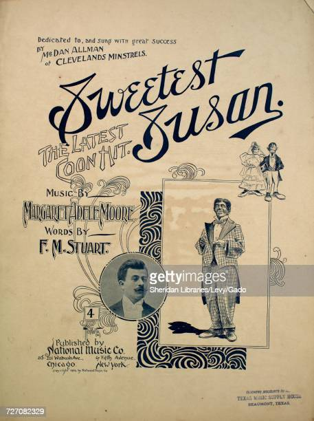 Sheet music cover image of the song 'sweetest Susan The Latest Coon Hit' with original authorship notes reading 'music by Margaret Adele Moore Words...