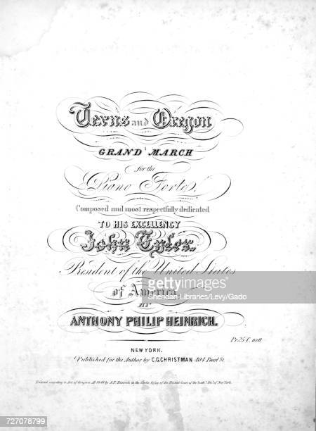 Sheet music cover image of the song 'texas and Oregon Grand March for the Piano Forte' with original authorship notes reading 'Composed by Anthony...