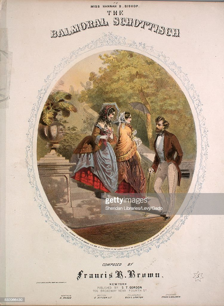 Sheet music cover image of the song 'The Balmoral Schottisch' with original authorship notes reading 'Composed by Francis H Brown' 1858