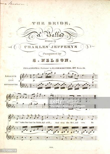 Sheet music cover image of the song 'the Bride A Ballad' with original authorship notes reading 'Written by Charles Jefferys Composed by S Nelson'...