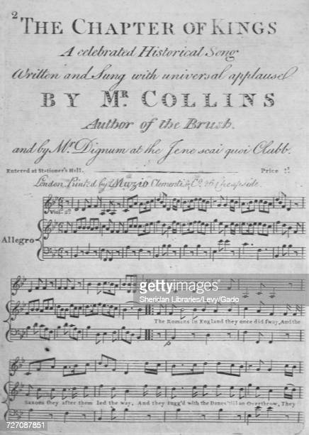 Sheet music cover image of the song 'the Chapter of Kings A Celebrated Historical Song' with original authorship notes reading 'Written and sung with...