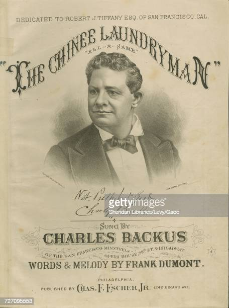 Sheet music cover image of the song 'the Chinee Laundryman' with original authorship notes reading 'Words and melody by Frank Dumont' United States...