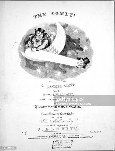 Sheet music cover image of the song 'the Comet A Comic Song' with original authorship notes reading 'Written by Chas Melton Esqr The Music Composed...