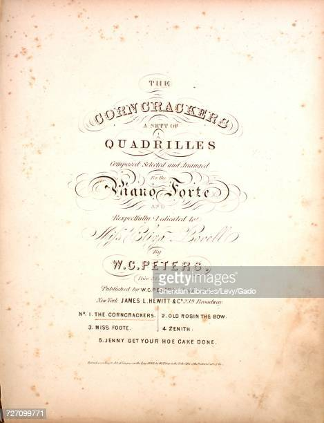 Sheet music cover image of the song 'the Corn Crackers A Sett of Quadrilles No 1 The Corncrackers The Corncrackers Old Rosin the Bow Miss Foote...