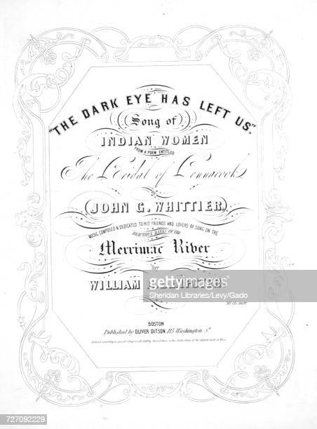 Sheet music cover image of the song 'the Dark Eye has Left Us Song of Indian Women From a Poem Entitled The Bridal of Pennacook' with original...