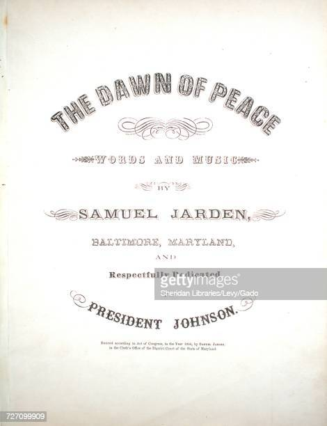 Sheet music cover image of the song 'the Dawn of Peace' with original authorship notes reading 'Words And Music By Samuel Jarden Baltimore Maryland'...