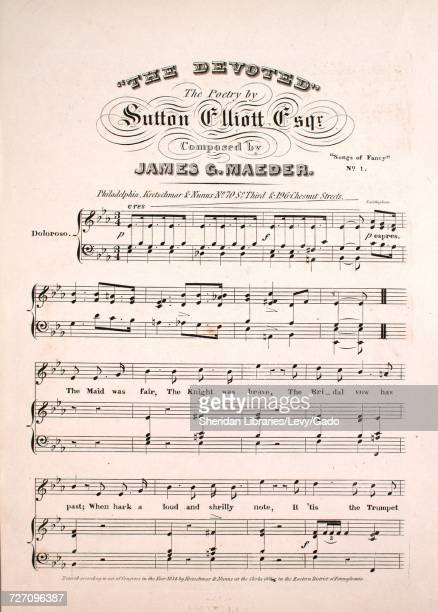 Sheet music cover image of the song 'the Devoted Songs of Fancy No 1' with original authorship notes reading 'the Poetry by Sutton Elliott Esqr...