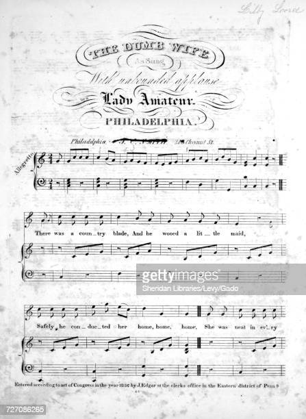 Sheet music cover image of the song 'the Dumb Wife' with original authorship notes reading 'na' United States 1836 The publisher is listed as 'JC...